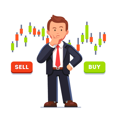 Stock market trader analyzing candlestick graph Illustration