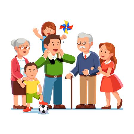 Grandparents, parents, children standing together