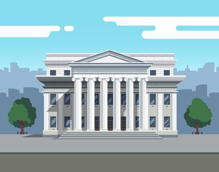 Vue de face du palais de justice, de la banque ou de l'université Banque d'images - 77357598