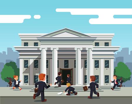 Businesspeople running towards bank to take credit