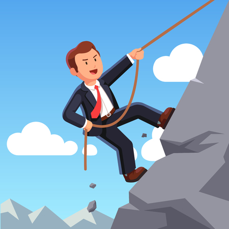 Strong business man climbing mountain with rope Illustration
