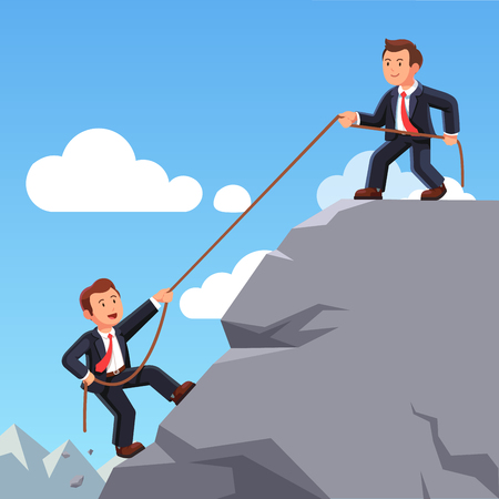Business man helping friend climbing up with rope Ilustracja