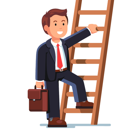 career up: Smiling businessman climbing up the career ladder Illustration