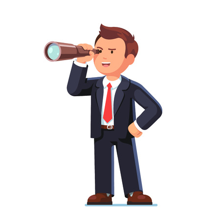 Concentrated businessman looking through spyglass
