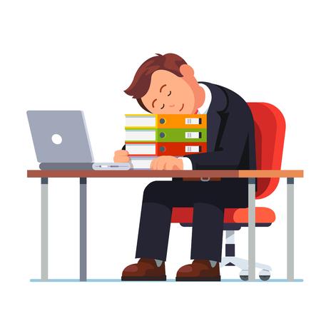 surmené d & # 39 ; affaires tomber endormi à son bureau