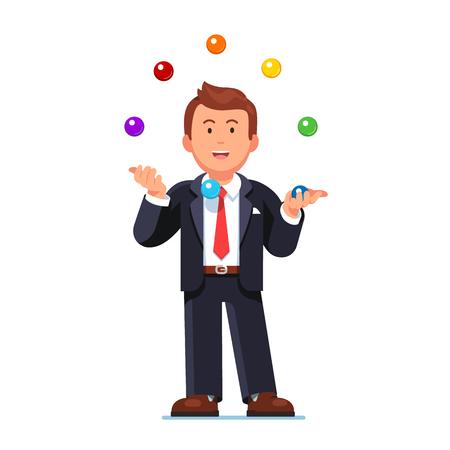 Skillful business man juggling colorful balls