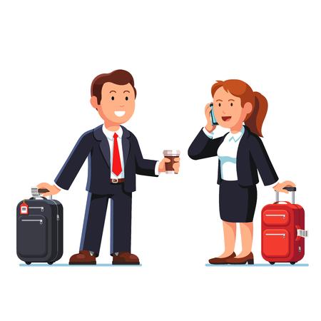 Zakenman en vrouw gaan zakenreis