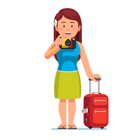 excursion: Woman tourist standing with baggage, taking photo Illustration