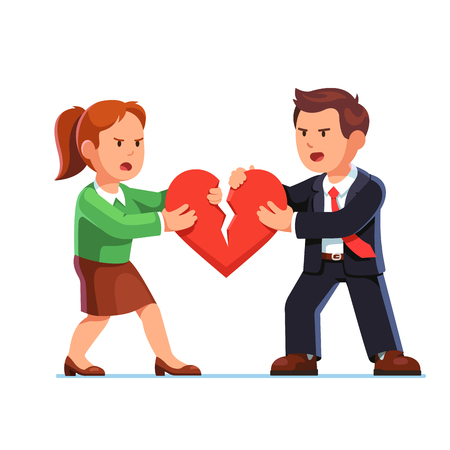 Man and woman tearing red heart in halves Illustration