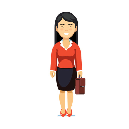 Asian business woman standing with suitcase