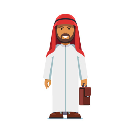 thobe: Arabian business man standing with suitcase Illustration