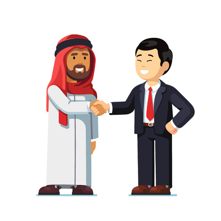 Arabian and asian man standing shaking hands Illustration