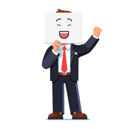 Business man holding smiling face card over face Illustration