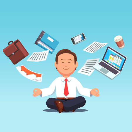 Business man multitasking, meditating, doing yoga