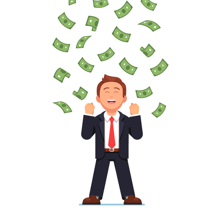 happy business man: Money raining down on happy business man Illustration