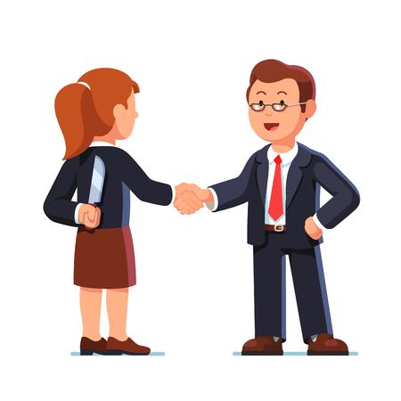 Business woman and man shaking hands. Betrayal. Çizim