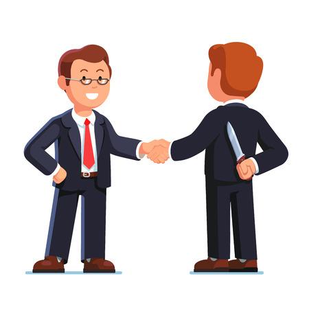 Two business man shaking hands. Betrayal metaphor. Illustration