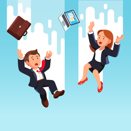 Business man and woman falling down from the sky