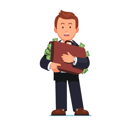 Business man standing holding case full of money Ilustrace