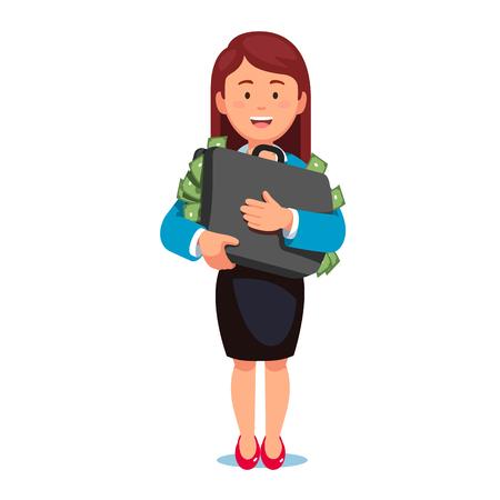 Business woman standing holding case full of money Illustration