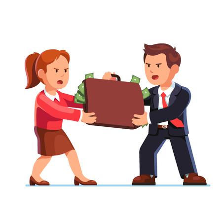 entrepreneurship: Business man and woman fighting for dollar money
