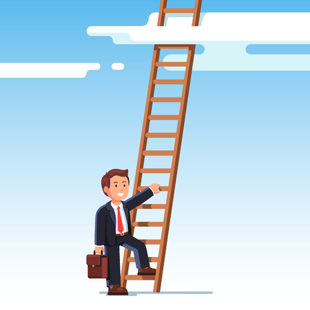 Business man in suit climbing up the career ladder