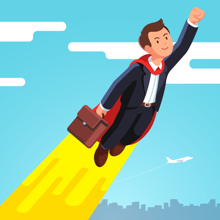 Superhero business man in cape flying in the sky Illustration