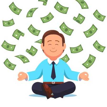 Dinero en efectivo volando en hombre de negocios sentado Ilustración de vector
