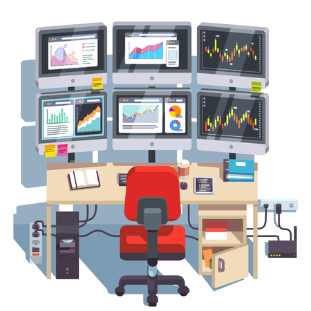 Stock market exchange trader desk with displays