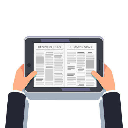 periodical: Tablet computer or eReader in businessman hands Illustration