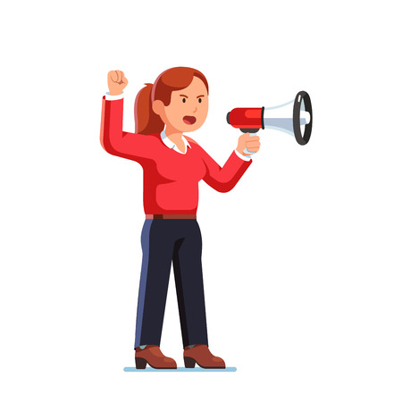 Business woman boss shouting out through megaphone