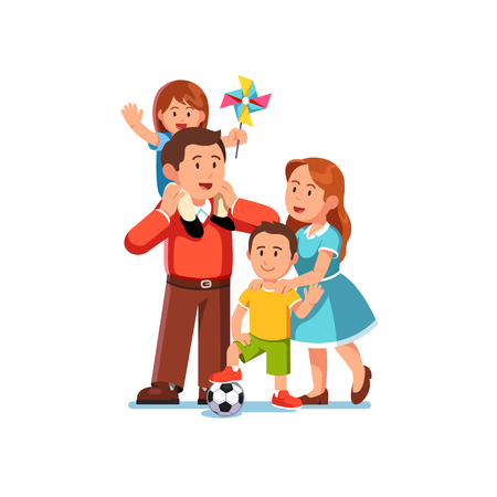 Parents mom and dad standing together with kids Illustration