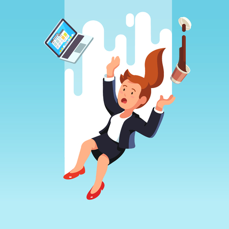 Business woman falling down from the sky