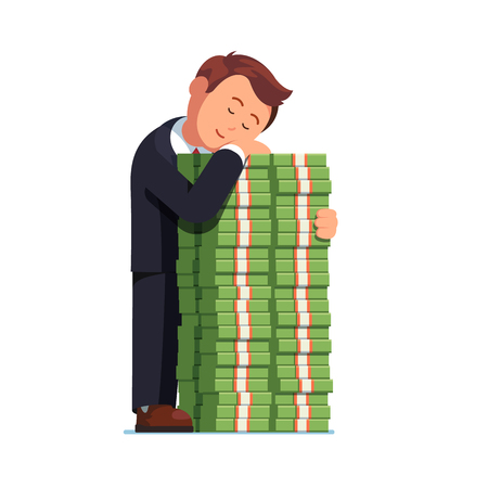 happy business man: Happy business man embracing pile of cash money Illustration
