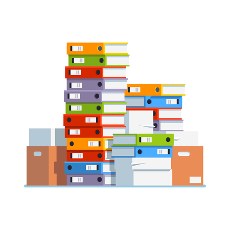 Heap of paper document file folders and boxes Stock Illustratie