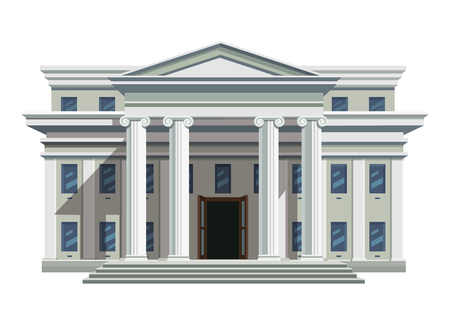 White brick public building with high columns