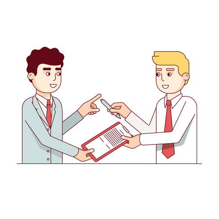 business contract: Signing of the business contract colorful icon