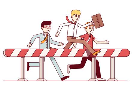 Leading business men hurdling. Achieving the goal