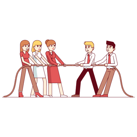 Business people teams in a tug of war competition