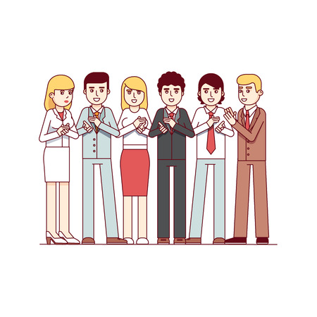 Standing business people applauding to viewer Illustration