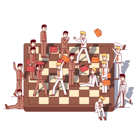 Business men teams fighting on giant chessboard