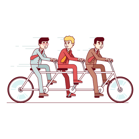 Business people team riding on a tandem bike Illustration
