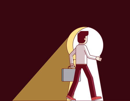Business man walking through the giant keyhole Illustration