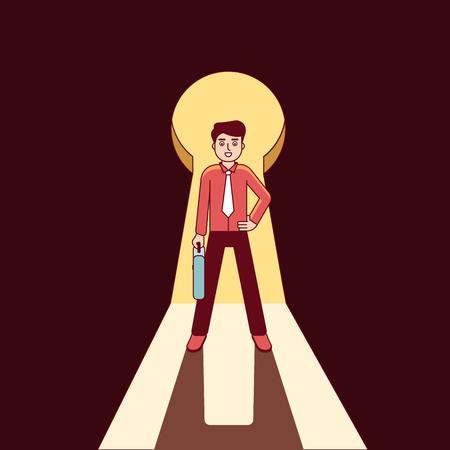 entrepreneurship: Businessman standing in keyhole shaped doorway