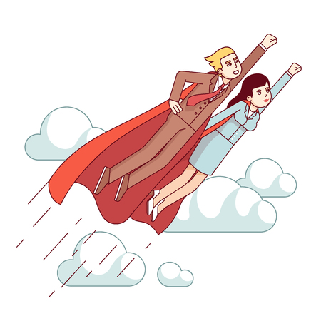 entrepreneurship: Super hero business man and woman flying fast