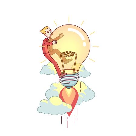 Business man flying up on bright big idea lamp Illustration