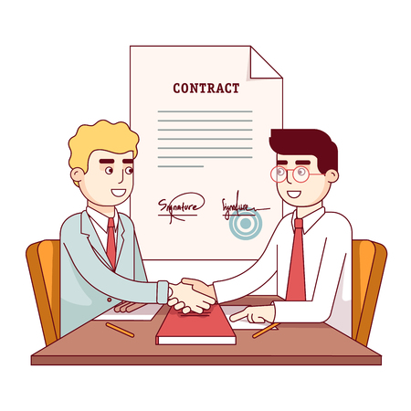 signing: Business men shaking hands after signing contract Illustration