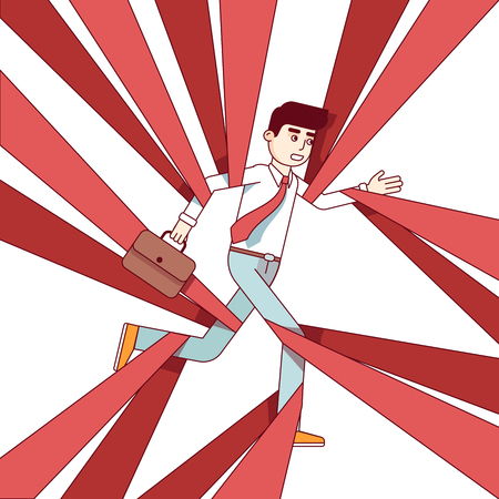 Business man running and overcoming in red tape Illustration