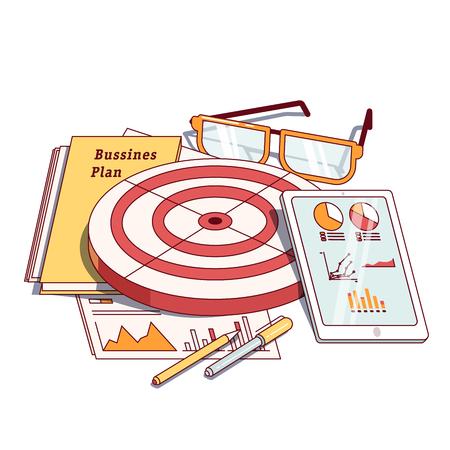 entrepreneurship: Business planning document next to stationeries Illustration