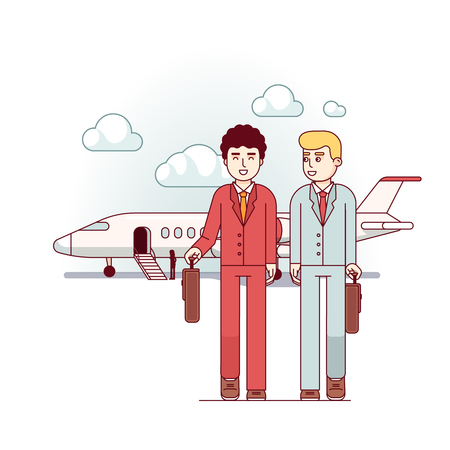Business men coming from the private plane